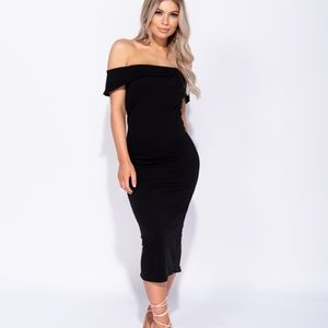 NWT Black Off Shoulder Bardot Bodycon Midi Dress